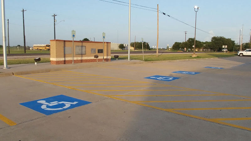School Building - After Parking Lot Striping - Between the Lines Striping, Waller, Texas
